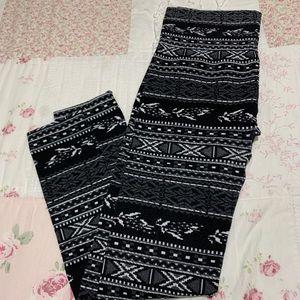 Pants - TAKE 50% OFF B & W Fair Isle fleece leggings